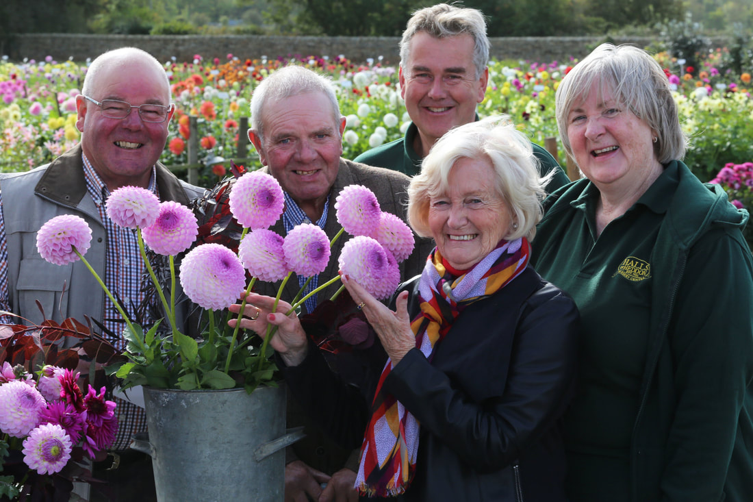 Photo of Lady Elsie Robson with dahlia Westerton Ella Grace and growers